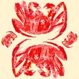 Cangrejo de rey rojo cocinado Ejemplo de la acuarela aislado en fondo amarillo libre illustration