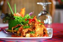 Cangrejo frito con el polvo de curry Fotografía de archivo libre de regalías