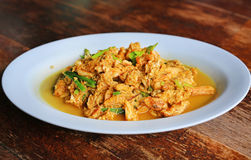 Cangrejo frito con el polvo de curry Imagenes de archivo