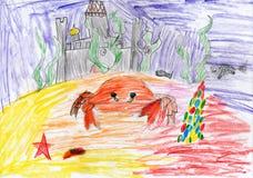 Cangrejo subacuático y castillo hundido Gráfico de un padre y de un hijo Imagenes de archivo