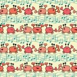 Cangrejos anaranjados enrrollados de la historieta con las ondas del garabato y las notas musicales Modelo inconsútil del vector  libre illustration