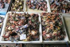 Cangrejos en el mercado Tailandia del tren Foto de archivo libre de regalías