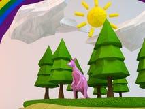 canguru 3d dentro de uma floresta Imagem de Stock
