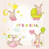 Canguru do bebê ajustado - para cartões de chegada da festa do bebê ou do bebê ilustração royalty free
