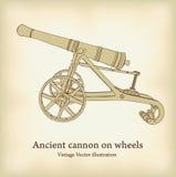 Canhão antigo nas rodas. Imagens de Stock Royalty Free