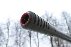 Canhão da artilharia do focinho contra o céu Imagens de Stock