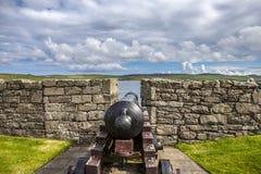 Canhão de Charlotte do forte, Lerwick, Escócia Foto de Stock
