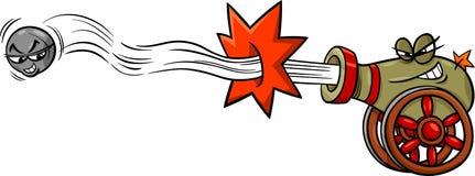 Canhão do acendimento e desenhos animados da bala de canhão Imagens de Stock Royalty Free