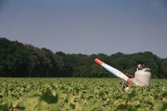Canhão do propano em um campo com colheitas novas fotografia de stock royalty free
