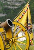 Canhão e bandeira amarelos Imagem de Stock