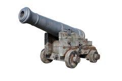 Canhão espanhol velho isolado no branco foto de stock royalty free