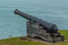 Canhão no penhasco como a defesa de mar imagem de stock