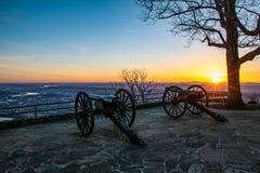 Canhões da guerra civil do parque do ponto em Chattanooga Tennessee TN imagens de stock royalty free