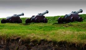 Canhões de Skansin do forte - Faroe Island Imagem de Stock