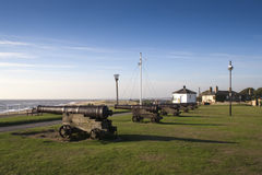 Canhões no monte da arma, Southwold, Suffolk, Inglaterra, Europa Imagem de Stock Royalty Free