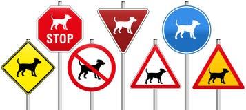 Cani dei segnali stradali Fotografia Stock