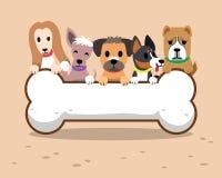 Cani del fumetto e grande segno dell'osso Immagini Stock Libere da Diritti