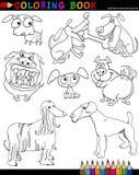 Cani del fumetto per il libro o la pagina di coloritura Fotografia Stock