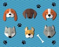 Cani del fumetto del taglio della carta messi Fotografie Stock Libere da Diritti