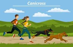 Cani delle coppie, dell'uomo e della donna che crossiing con i loro cani all'aperto illustrazione vettoriale