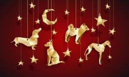 Cani di origami dell'oro nel cielo notturno Illustrazione cinese del nuovo anno Fotografia Stock Libera da Diritti