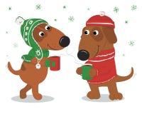Cani dolci e amorosi in cappelli e maglione e caffè Immagini Stock