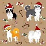 Cani in Santa Hats Cartolina di Natale illustrazione di stock