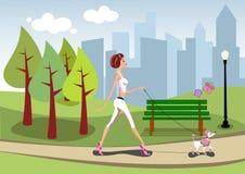 Caniche de passeio da mulher no parque da cidade ilustração royalty free