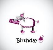 Caniche do cartão do feliz aniversario Imagem de Stock Royalty Free