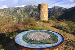 The Canigou massif. Orientation map near the tower of Goa in the Canigou massif in Pyrenees Orientales in the south of France.This tower was built in the XIIIth Stock Photo