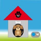 Canile con la ciotola del cane e del cucciolo Fotografie Stock
