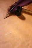 Canilla, inkwell y diario Imagen de archivo