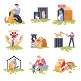 Canine and feline shelter dogs and cats house. Vector people playing with homeless pets friendly animals paw symbol and health care of mammals medicaments bag stock illustration