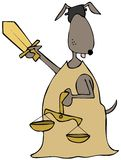 Canine lady justice. This illustration depicts a blindfolded canine lady justice holding scales and a sword Stock Photo