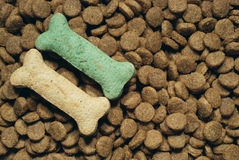 Canine meal. Pile of dog food pellets garnished with bone shaped treats Stock Photo