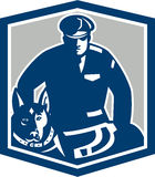 Canine Policeman With Police Dog Retro. Illustration of a canine policeman police officer security guard with police dog with facing front set inside shield vector illustration