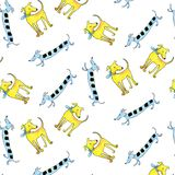 Canine seamless pattern cheerful multicolored watercolor. On white background vector illustration