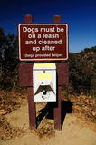 Canine signboard. Signboard warning about dog walking rules. USA Stock Image