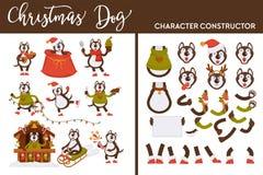 Canino del costruttore del carattere del cane di Natale sulla vacanza invernale illustrazione vettoriale