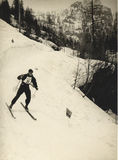 Canins 1937, Italy. Skier at slalom ski race. Vintage image of a slalom race in Italian Alps before WWII Royalty Free Stock Photography