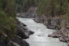 Canion op de Sjoa-rivier Stock Fotografie