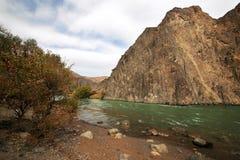 Canion van de Charyn-Rivier in Kazachstan stock foto's