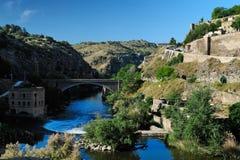 Canion van de rivier van Taag dichtbij Toledo, Spanje Royalty-vrije Stock Foto