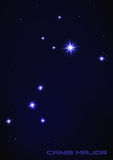 Canis major star constellation. Vector illustration of Canis major star constellation in blue Royalty Free Stock Image