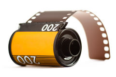 Canister of 35mm film. 35mm camera film on white background Royalty Free Stock Images