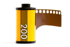 Canister of 35mm film. 35mm camera film on white background Royalty Free Stock Photography