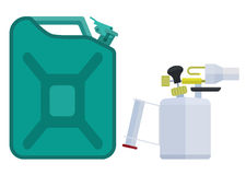 Canister and blowtorch. Jerrican and blowtorch. Eps10  illustration.  on white background Royalty Free Stock Photos