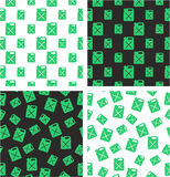 Canister for Gas or Oil Big & Small Aligned & Random Seamless Pattern Green Color Set. This image is a illustration and can be scaled to any size without Royalty Free Stock Image