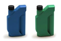 Canister. Motor oil bottle. 3D Motor oil bottle blue and green plastic Stock Photos
