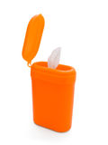 Canister of wipes. Open orange plastic canister of antibacterial wipes isolated on white royalty free stock photo